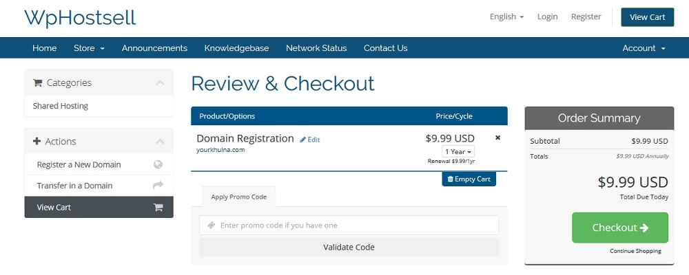 domain registration checkout