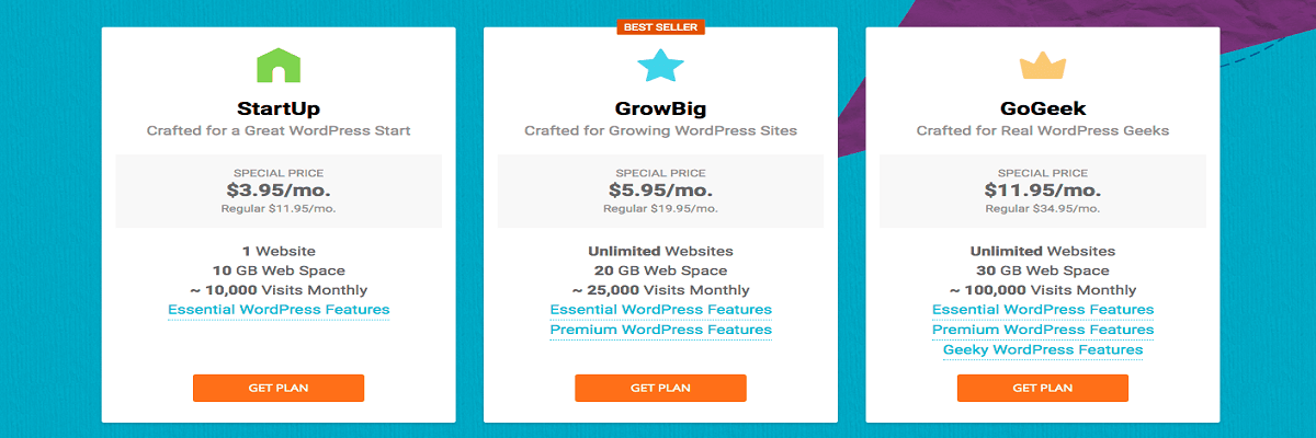 Law firm web hosting - Siteground - Pricing