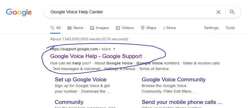 Answers from Google Voice Help Center